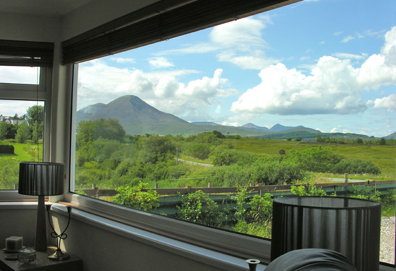 The view from the lounge towards Beinn na Caillich