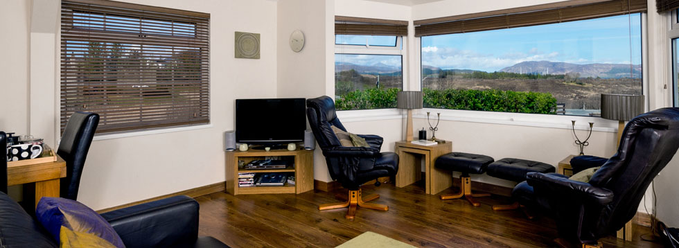 The sitting room and panoramic windows